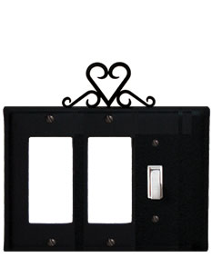 Heart - Double GFI and Single Switch Cover - CUSTOM Product - If Out Of Stock, Allow 4 to 6 Weeks