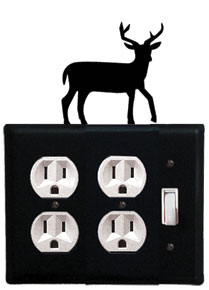 Deer - Double Outlet and Single Switch Cover - CUSTOM Product - If Out Of Stock, Allow 4 to 6 Weeks