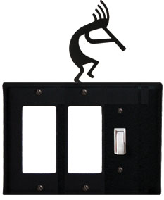 Kokopelli - Double GFI and Single Switch Cover - CUSTOM Product - If Out Of Stock, Allow 4 to 6 Weeks