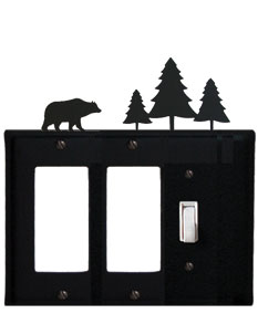 Bear & Pine Trees - Double GFI and Single Switch Cover - CUSTOM Product - If Out Of Stock, Allow 4 to 6 Weeks