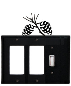 Pinecone - Double GFI and Single Switch Cover - CUSTOM Product - If Out Of Stock, Allow 4 to 6 Weeks