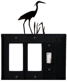Heron - Double GFI and Single Switch Cover - CUSTOM Product - If Out Of Stock, Allow 4 to 6 Weeks