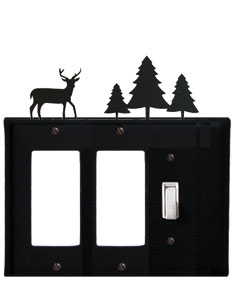 Deer & Pine Trees - Double GFI and Single Switch Cover - CUSTOM Product - If Out Of Stock, Allow 4 to 6 Weeks