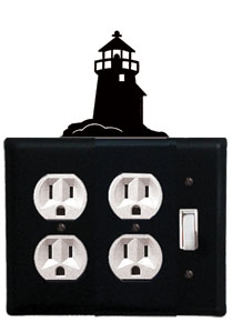 Lighthouse - Double Outlet and Single Switch Cover - CUSTOM Product - If Out Of Stock, Allow 4 to 6 Weeks