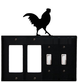 Rooster - Double GFI and Double Switch Cover - CUSTOM Product - If Out Of Stock, Allow 4 to 6 Weeks