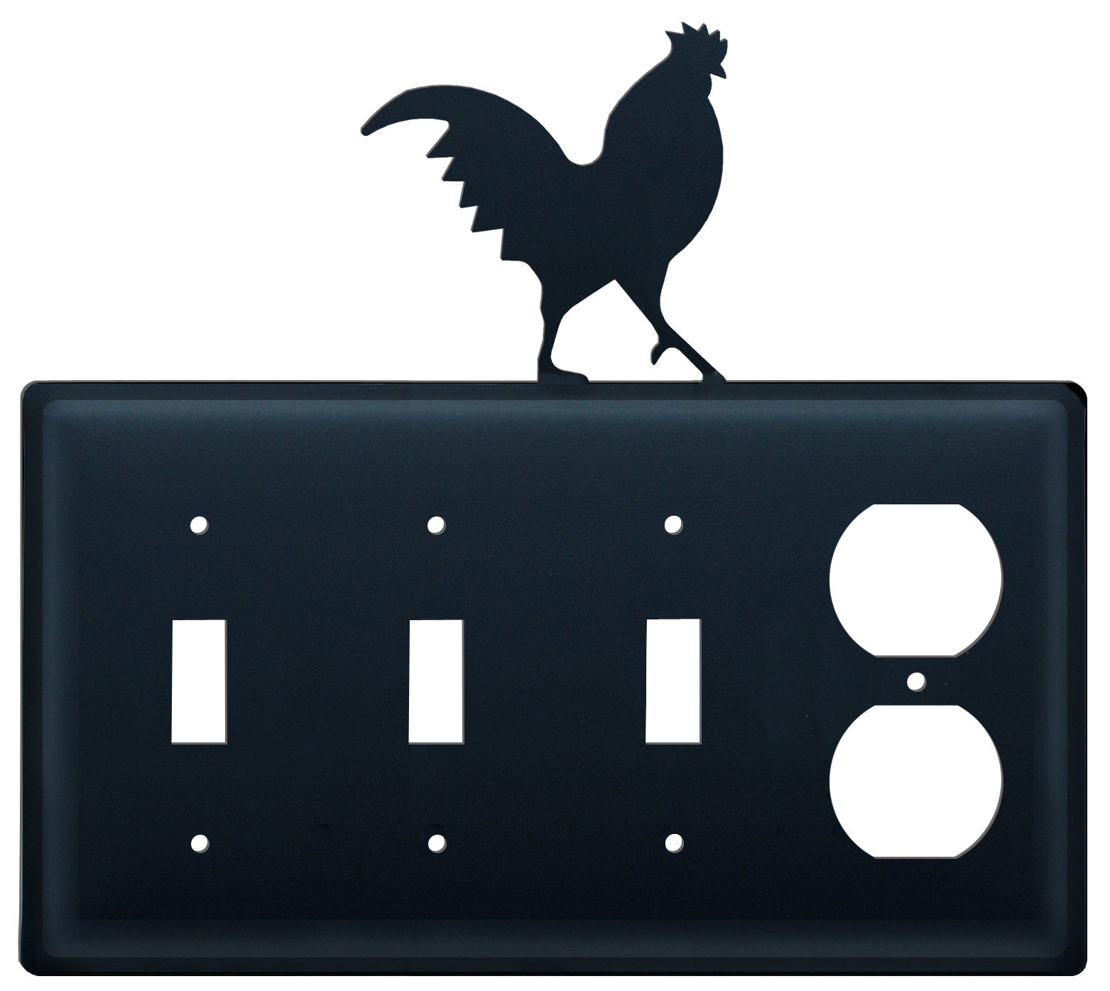 Rooster - Triple Switch & Single Outlet - CUSTOM Product - If Out Of Stock, Allow 4 to 6 Weeks