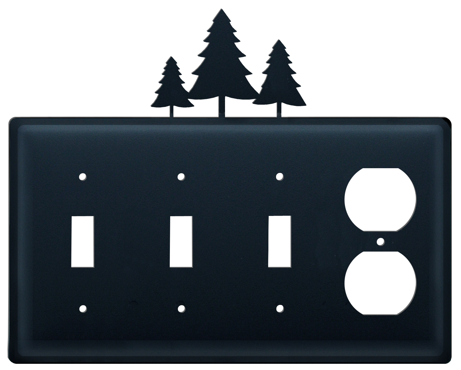 Pine Trees - Triple Switch & Single Outlet - CUSTOM Product - If Out Of Stock, Allow 4 to 6 Weeks