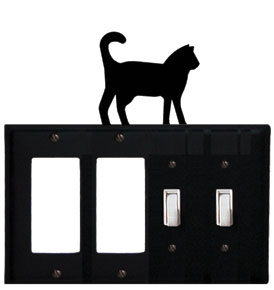 Cat - Double GFI and Double Switch Cover - CUSTOM Product - If Out Of Stock, Allow 4 to 6 Weeks