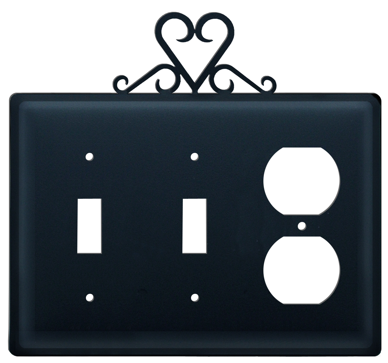Heart - Double Switch & Single Outlet Cover