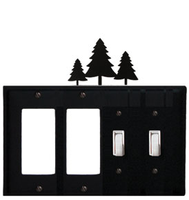 Pine Trees - Double GFI and Double Switch Cover - CUSTOM Product - If Out Of Stock, Allow 4 to 6 Weeks