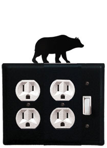 Bear - Double Outlet and Single Switch Cover - CUSTOM Product - If Out Of Stock, Allow 4 to 6 Weeks