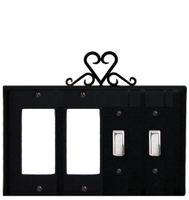 Heart - Double GFI and Double Switch Cover - CUSTOM Product - If Out Of Stock, Allow 4 to 6 Weeks