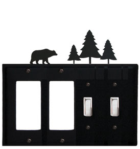 Bear & Pine Trees - Double GFI and Double Switch Cover - CUSTOM Product - If Out Of Stock, Allow 4 to 6 Weeks