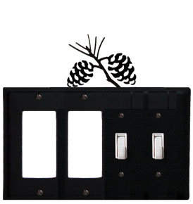 Pinecone - Double GFI and Double Switch Cover - CUSTOM Product - If Out Of Stock, Allow 4 to 6 Weeks