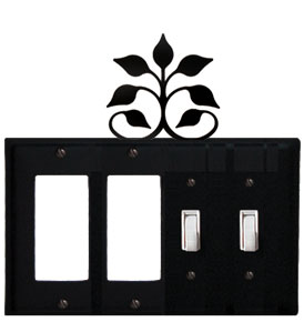 Leaf Fan - Double GFI and Double Switch Cover - CUSTOM Product - If Out Of Stock, Allow 4 to 6 Weeks