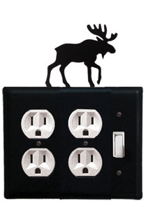 Moose - Double Outlet and Single Switch Cover - CUSTOM Product - If Out Of Stock, Allow 4 to 6 Weeks