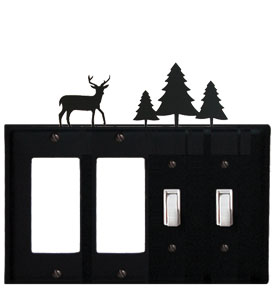 Deer & Pine Trees - Double GFI and Double Switch Cover - CUSTOM Product - If Out Of Stock, Allow 4 to 6 Weeks