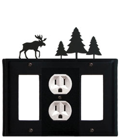 Moose & Pine Trees - Single GFI, Outlet and GFI Cover - CUSTOM Product - If Out Of Stock, Allow 4 to 6 Weeks