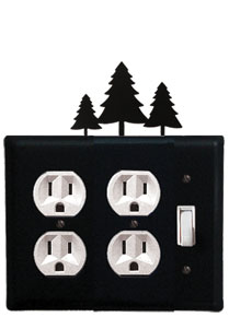 Pine Trees - Double Outlet and Single Switch Cover - CUSTOM Product - If Out Of Stock, Allow 4 to 6 Weeks