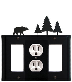 Bear & Pine Trees - Single GFI, Outlet and GFI Cover