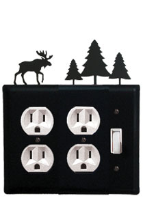 Moose & Pine Trees - Double Outlet and Single Switch Cover - CUSTOM Product - If Out Of Stock, Allow 4 to 6 Weeks