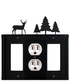 Deer & Pine Trees - Single GFI, Outlet and GFI Cover - CUSTOM Product - If Out Of Stock, Allow 4 to 6 Weeks