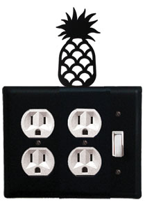 Pineapple - Double Outlet and Single Switch Cover - CUSTOM Product - If Out Of Stock, Allow 4 to 6 Weeks