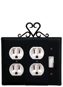 Heart - Double Outlet and Single Switch Cover - CUSTOM Product - If Out Of Stock, Allow 4 to 6 Weeks