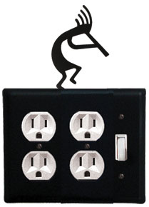 Kokopelli - Double Outlet and Single Switch Cover - CUSTOM Product - If Out Of Stock, Allow 4 to 6 Weeks
