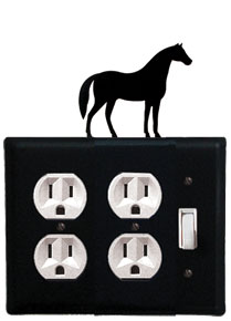 Horse - Double Outlet and Single Switch Cover - CUSTOM Product - If Out Of Stock, Allow 4 to 6 Weeks