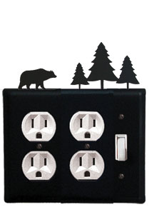 Bear & Pine Trees - Double Outlet and Single Switch Cover - CUSTOM Product - If Out Of Stock, Allow 4 to 6 Weeks