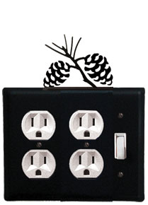 Pinecone - Double Outlet and Single Switch Cover - CUSTOM Product - If Out Of Stock, Allow 4 to 6 Weeks