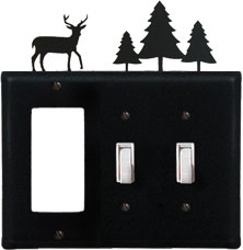 Deer & Pine Trees - Single GFI and Double Switch Cover