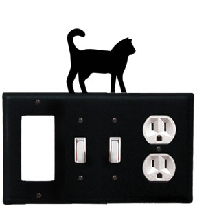 Cat - Single GFI, Double Switch and Single Outlet Cover - CUSTOM Product - If Out Of Stock, Allow 4 to 6 Weeks