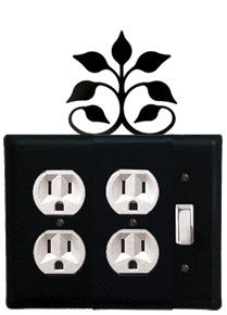 Leaf Fan - Double Outlet and Single Switch Cover - CUSTOM Product - If Out Of Stock, Allow 4 to 6 Weeks