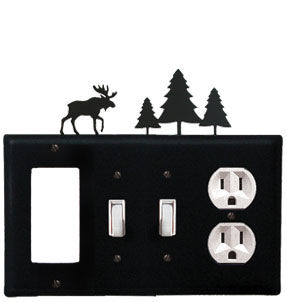 Moose & Pine Trees - Single GFI, Double Switch and Single Outlet Cover - CUSTOM Product - If Out Of Stock, Allow 4 to 6 Weeks