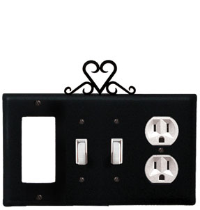 Heart - Single GFI, Double Switch and Single Outlet Cover - CUSTOM Product - If Out Of Stock, Allow 4 to 6 Weeks