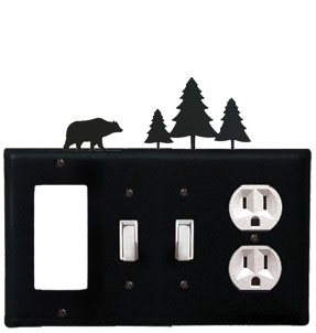 Bear & Pine Trees - Single GFI, Double Switch and Single Outlet Cover - CUSTOM Product - If Out Of Stock, Allow 4 to 6 Weeks