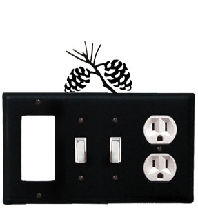 Pinecone - Single GFI, Double Switch and Single Outlet Cover - CUSTOM Product - If Out Of Stock, Allow 4 to 6 Weeks