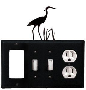 Heron - Single GFI, Double Switch and Single Outlet Cover - CUSTOM Product - If Out Of Stock, Allow 4 to 6 Weeks