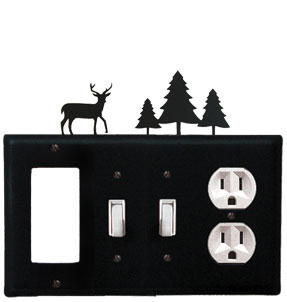 Deer & Pine Trees - Single GFI, Double Switch and Single Outlet Cover - CUSTOM Product - If Out Of Stock, Allow 4 to 6 Weeks