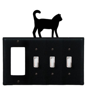 Cat - Single GFI and Triple Switch Cover