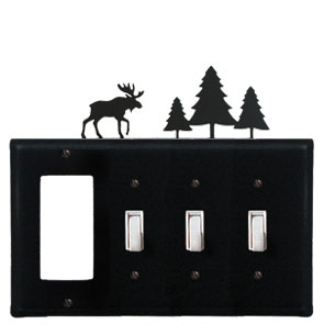 Moose & Pine Trees - Single GFI and Triple Switch Cover