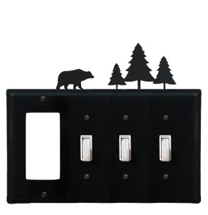 Bear & Pine Trees - Single GFI and Triple Switch Cover