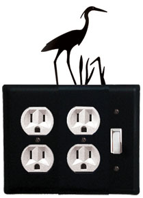 Heron - Double Outlet and Single Switch Cover - CUSTOM Product - If Out Of Stock, Allow 4 to 6 Weeks