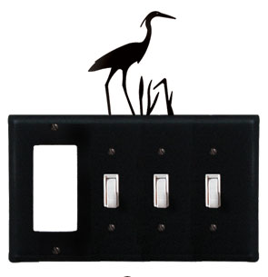 Heron - Single GFI and Triple Switch Cover - CUSTOM Product - If Out Of Stock, Allow 4 to 6 Weeks