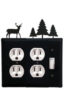Deer & Pine Trees - Double Outlet and Single Switch Cover - CUSTOM Product - If Out Of Stock, Allow 4 to 6 Weeks
