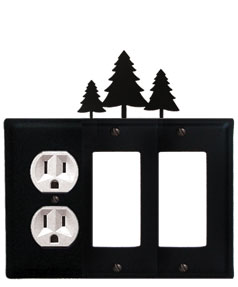 Pine Trees - Single Outlet and Double GFI Cover