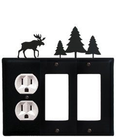Moose & Pine Trees - Single Outlet and Double GFI Cover