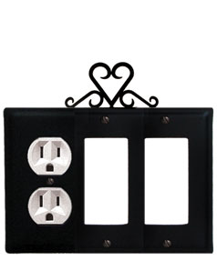 Heart - Single Outlet and Double GFI Cover